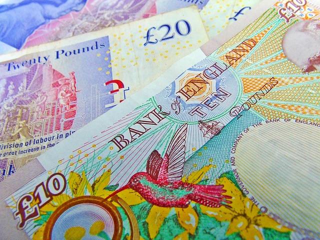 barevné bankovky, libry, detail