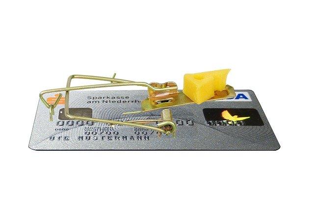 past na myši, bankovní karta